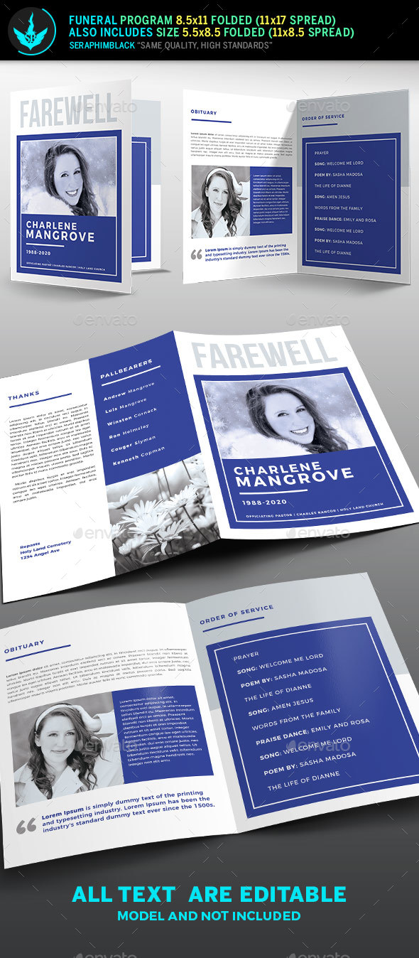 Minimal Blue Funeral Program Template - Informational Brochures