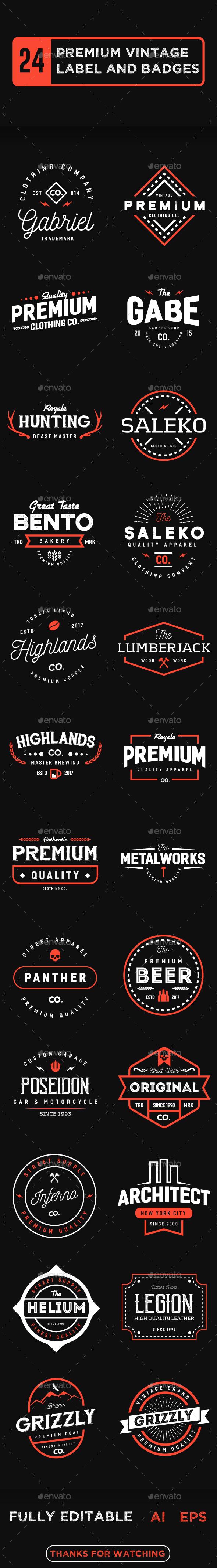 24 Premium Vintage Label and Badges - Badges & Stickers Web Elements