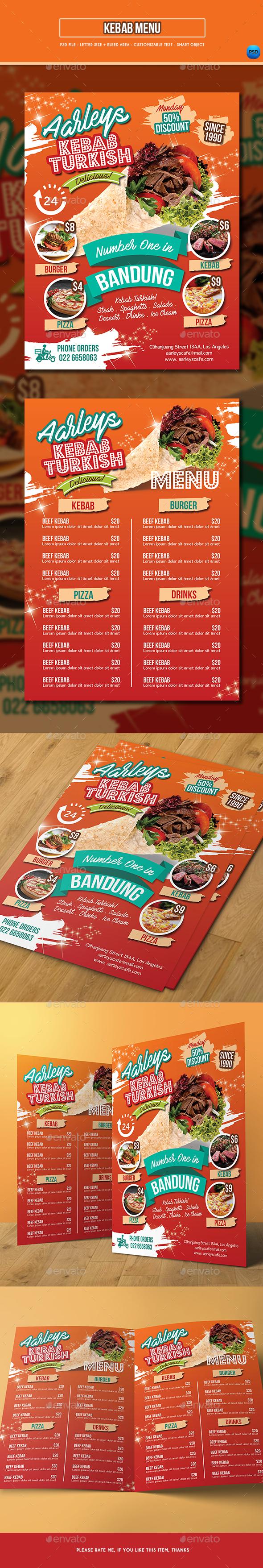 Kebab Menu Template - Food Menus Print Templates