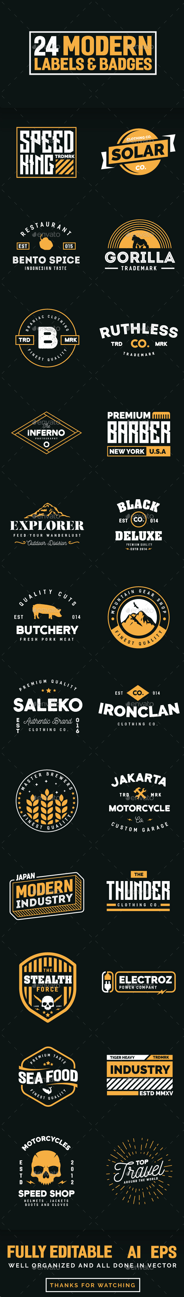 24 Modern Label and Badges - Badges & Stickers Web Elements