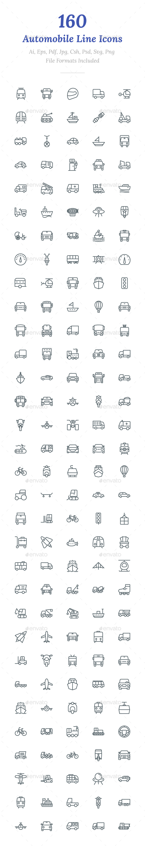 160 Automobile Line Icons - Icons