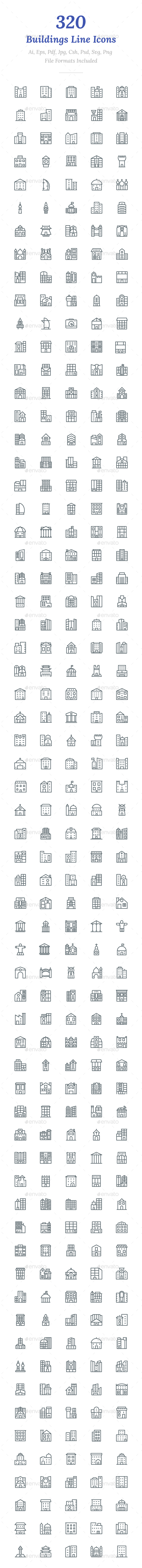320 Buildings Line Icons - Icons