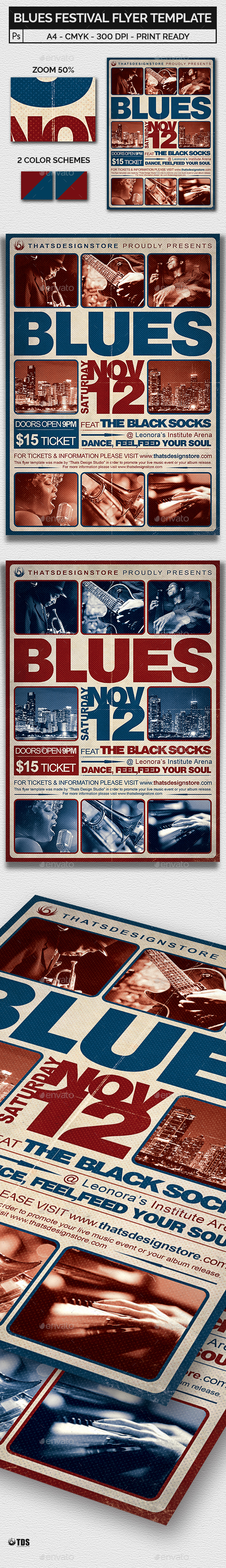 Blues Festival Flyer Template V2 - Concerts Events