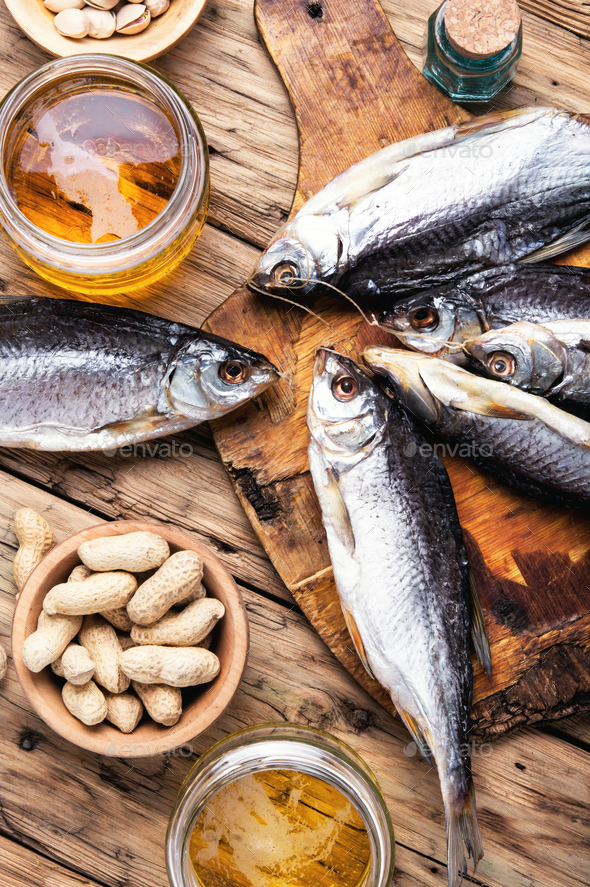 beer with fish - Stock Photo - Images
