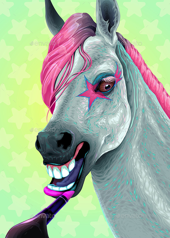 GraphicRiver Horse is Applying Lipstick on her Lips 20925700