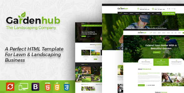 Garden HUB - Gardening, Lawn & Landscaping HTML Template - Business Corporate