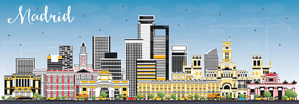 GraphicRiver Madrid Spain Skyline with Gray Buildings and Blue Sky 20925780