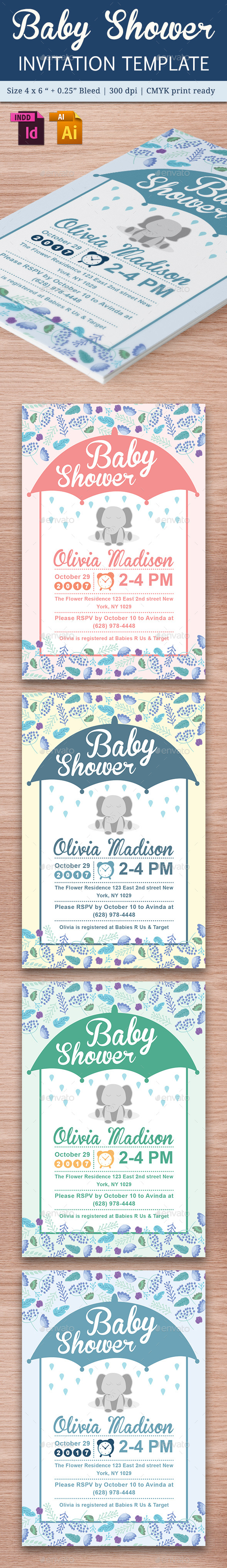 Baby Shower Template - Vol. 18 - Cards & Invites Print Templates