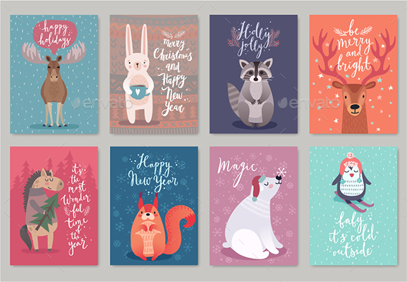 GraphicRiver Christmas Animals Card Set 20925933