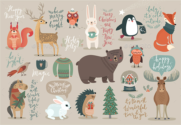GraphicRiver Christmas Set Hand Drawn Style 20925940