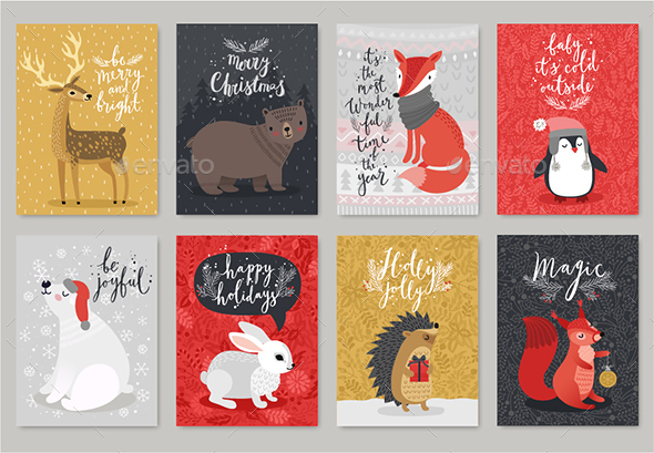 GraphicRiver Christmas Animals Card Set 20925986