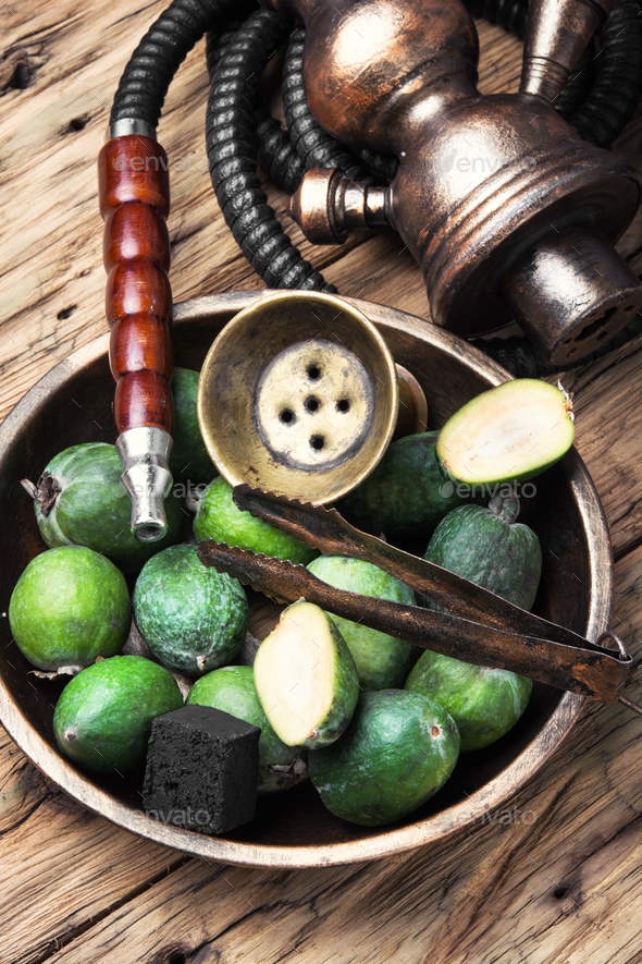 oriental nargile with feijoa - Stock Photo - Images