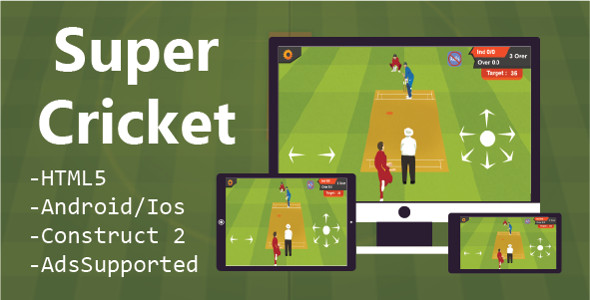 CodeCanyon Super Cricket HTML5 Game & Construct 2 CAPX 20926180