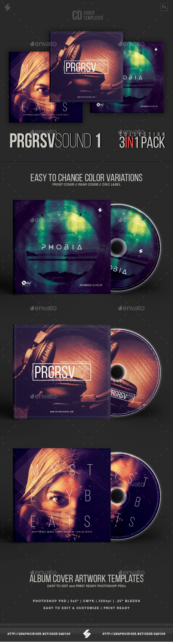 Progressive Sound Collection - CD Cover Artwork Templates Bundle - CD & DVD Artwork Print Templates