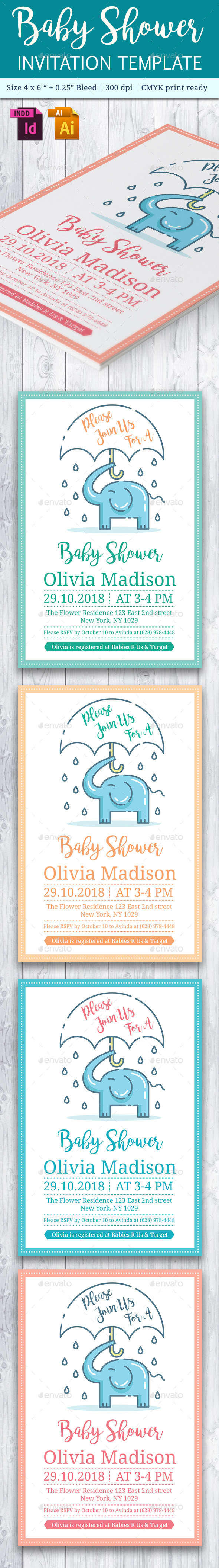 Baby Shower Template - Vol. 19 - Cards & Invites Print Templates