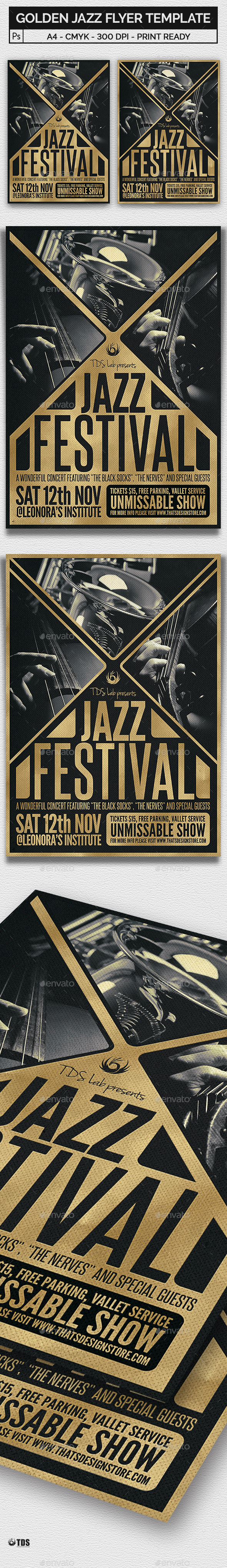 Golden Jazz Flyer Template - Concerts Events