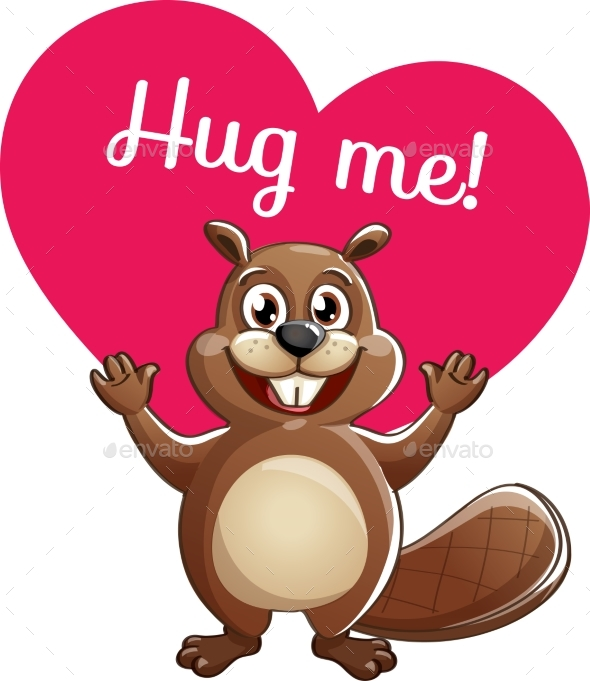 Cartoon Beaver Ready for a Hugging - Animals Characters
