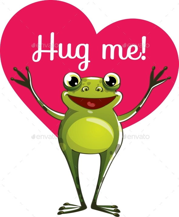 Cartoon Frog Ready for a Hugging - Animals Characters