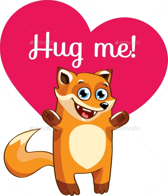 Cartoon Fox Ready for a Hugging - Animals Characters