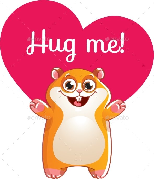 Cartoon Hamster Ready for a Hugging - Animals Characters