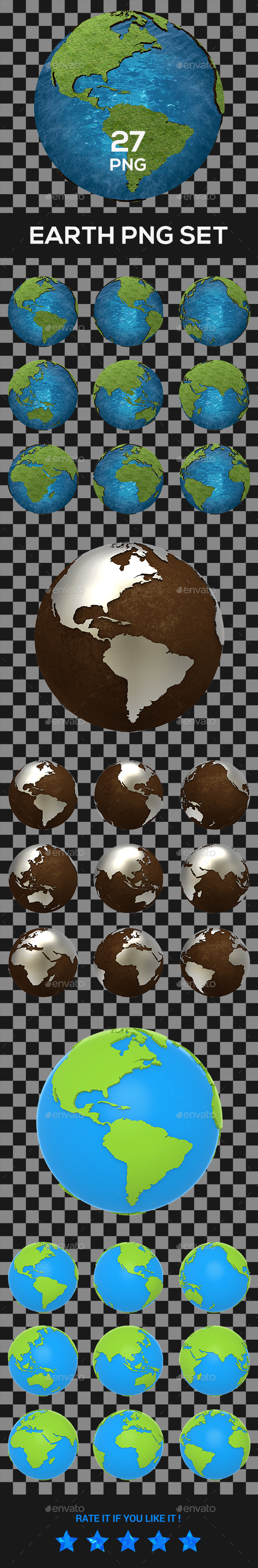 Earth PNG Set - Objects 3D Renders
