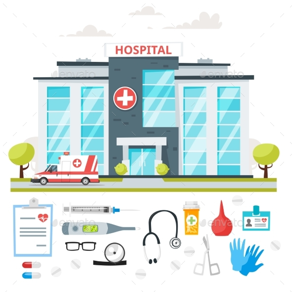 GraphicRiver Hospital Building with Ambulance Car 20926483