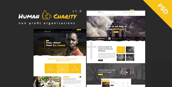 ThemeForest Human Charity Multi-Purpose Crowdfunding Church Fundraising Non Orofit PSD 20854286