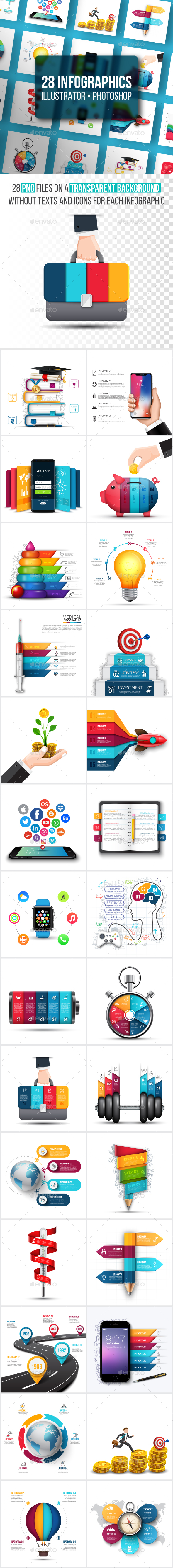 Realistic infographics pack - Infographics
