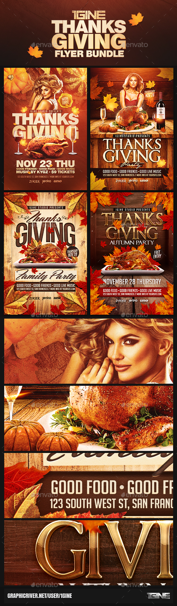 4 in 1 Thanksgiving Flyer Bundle - Holidays Events