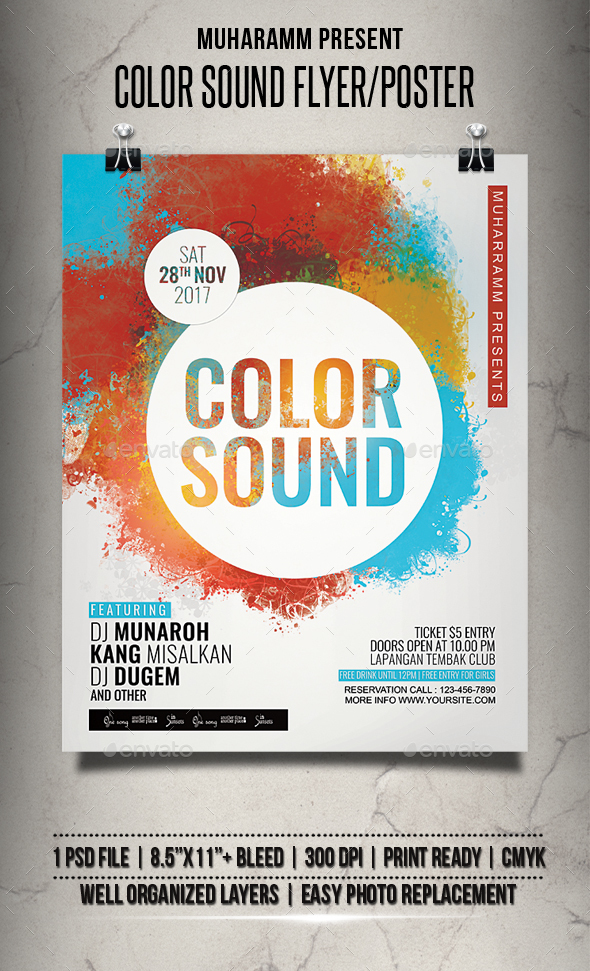 Color Sound Party Flyer / Poster - Clubs & Parties Events