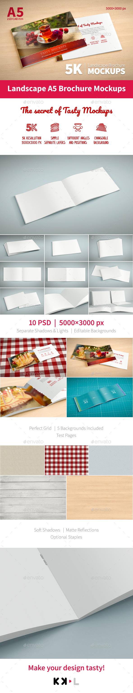 GraphicRiver 5K Set Landscape A5 Brochure Mockups 20927328