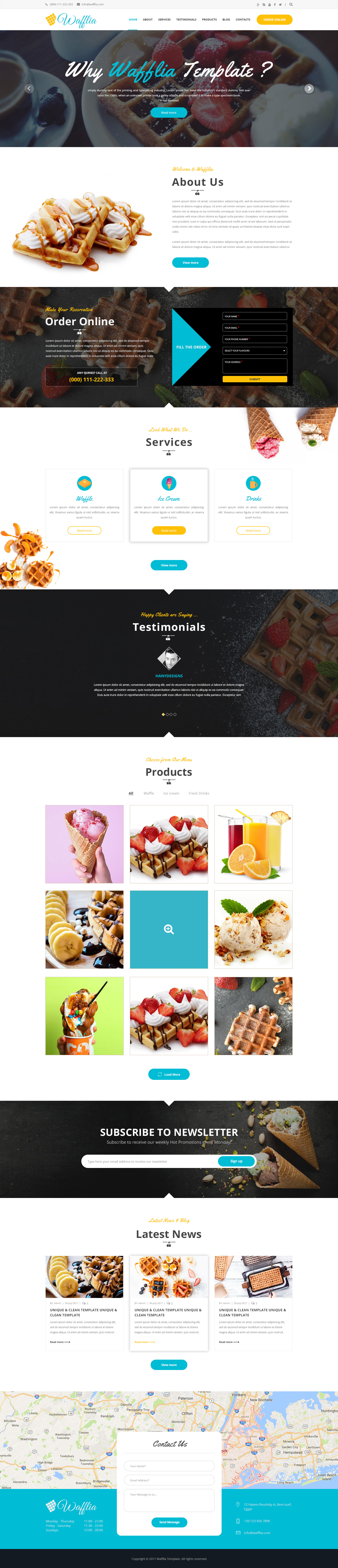 Wafflia - Responsive Waffle and Ice Cream PSD Template by hanydesigns