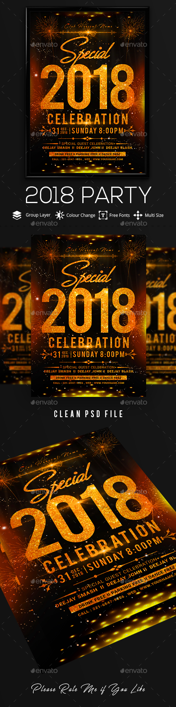 2018 New Year Flyer Template - Clubs & Parties Events