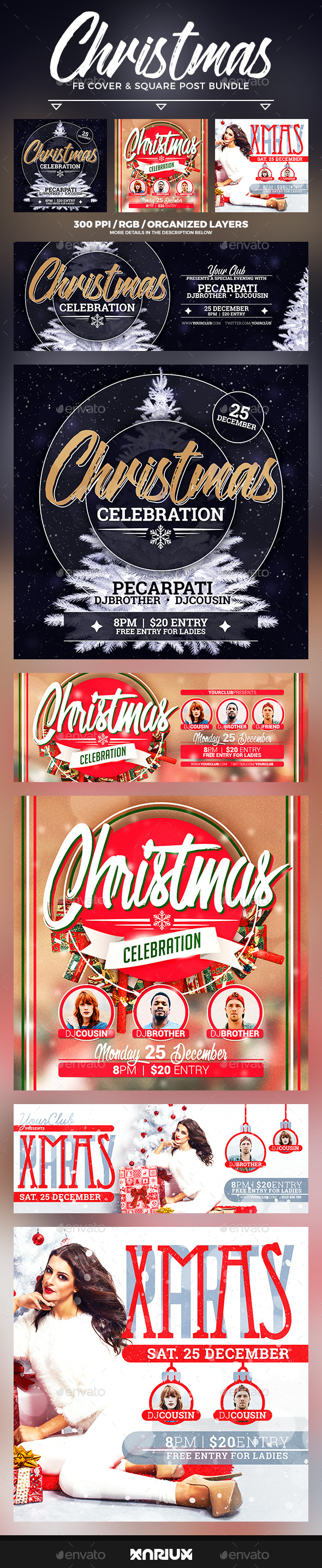 Christmas Celebration Facebook Cover Bundle - Social Media Web Elements
