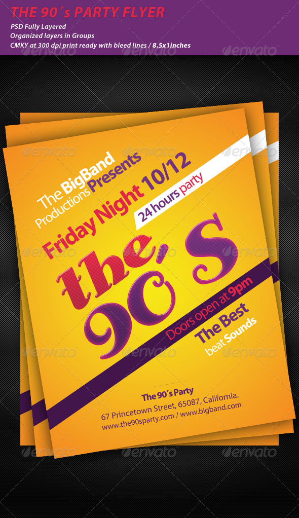 The 90´s Party Flyer - Clubs & Parties Events