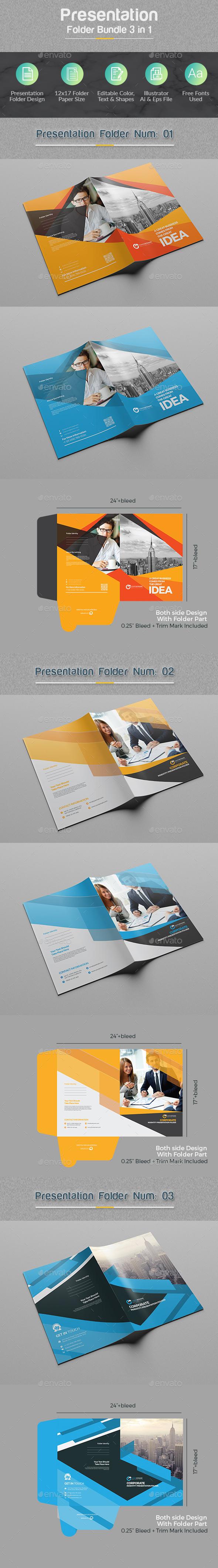 Presentation Folder Bundle 3 in 1 - Stationery Print Templates