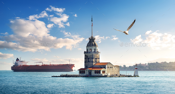 Maiden Tower in Istanbul at day - Stock Photo - Images