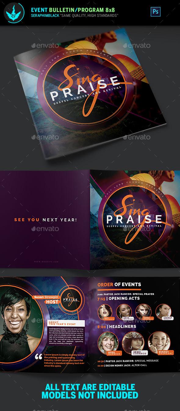 Sing Praise Gospel Concert Program Template - Informational Brochures