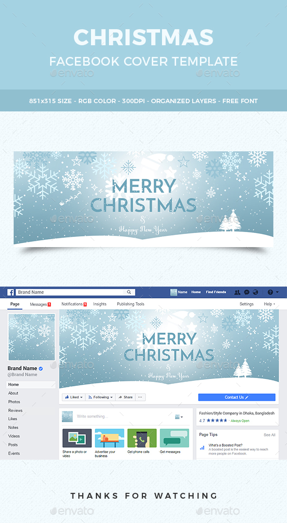 Merry Christmas Facebook Cover - Social Media Web Elements