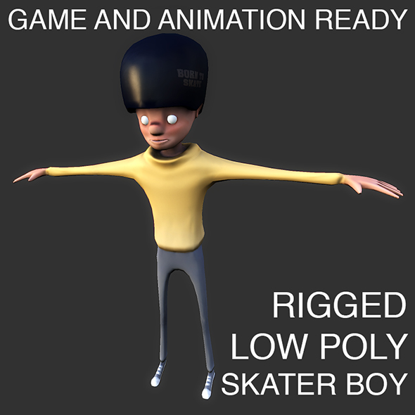 Low poly skater boy character - 3DOcean Item for Sale