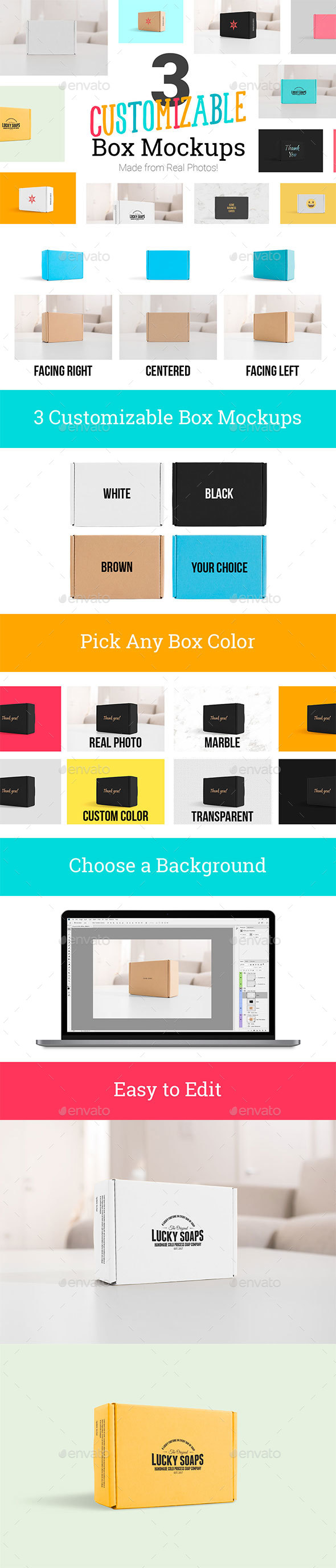 3 Real Photo Product Box Mockups