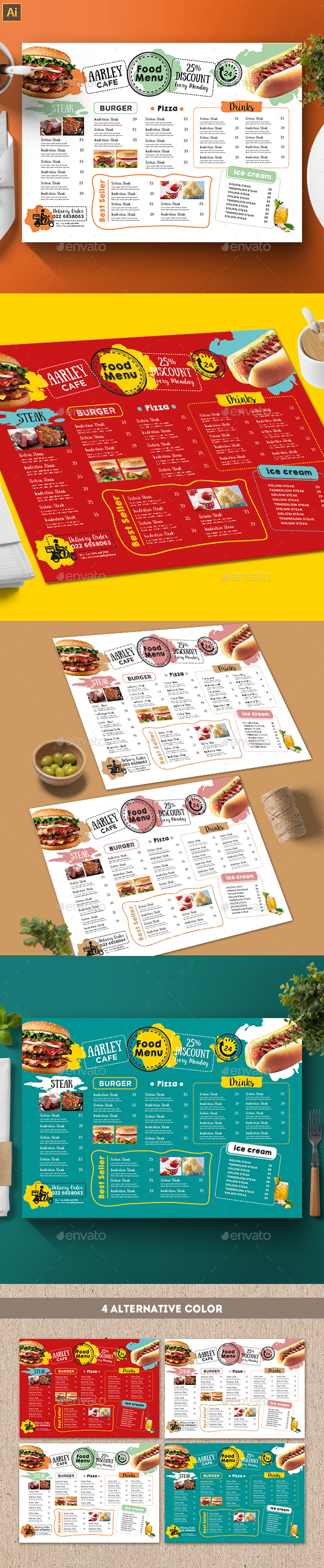 Cafe Menu Template - Food Menus Print Templates