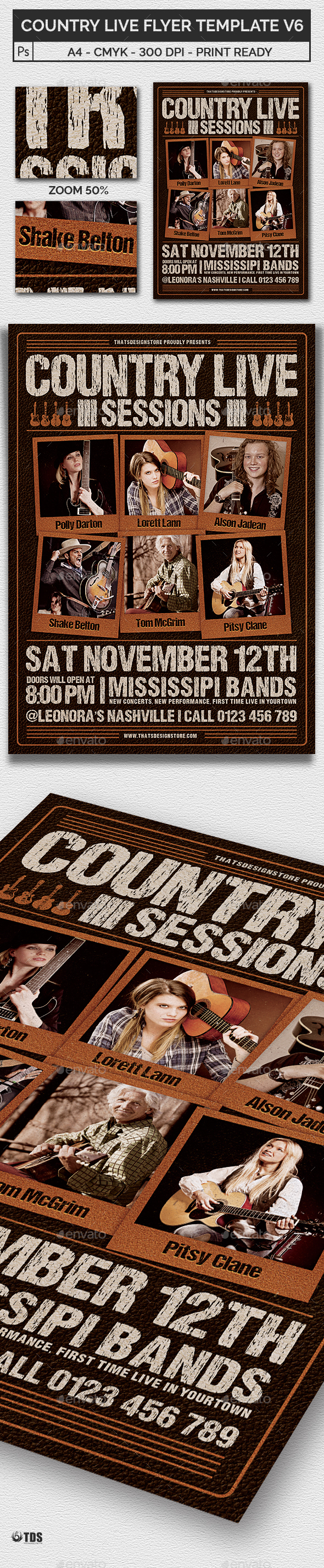Country Live Flyer Template V6 - Concerts Events