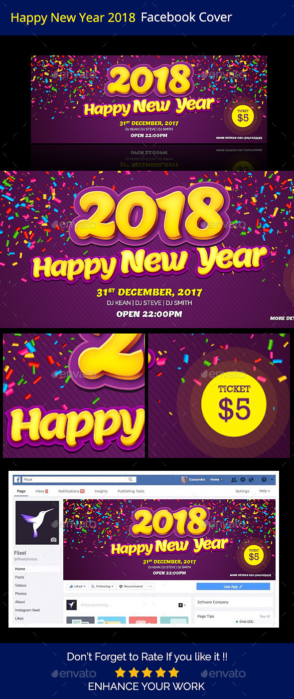 Happy New Year 2018 Facebook Timeline Cover - Facebook Timeline Covers Social Media