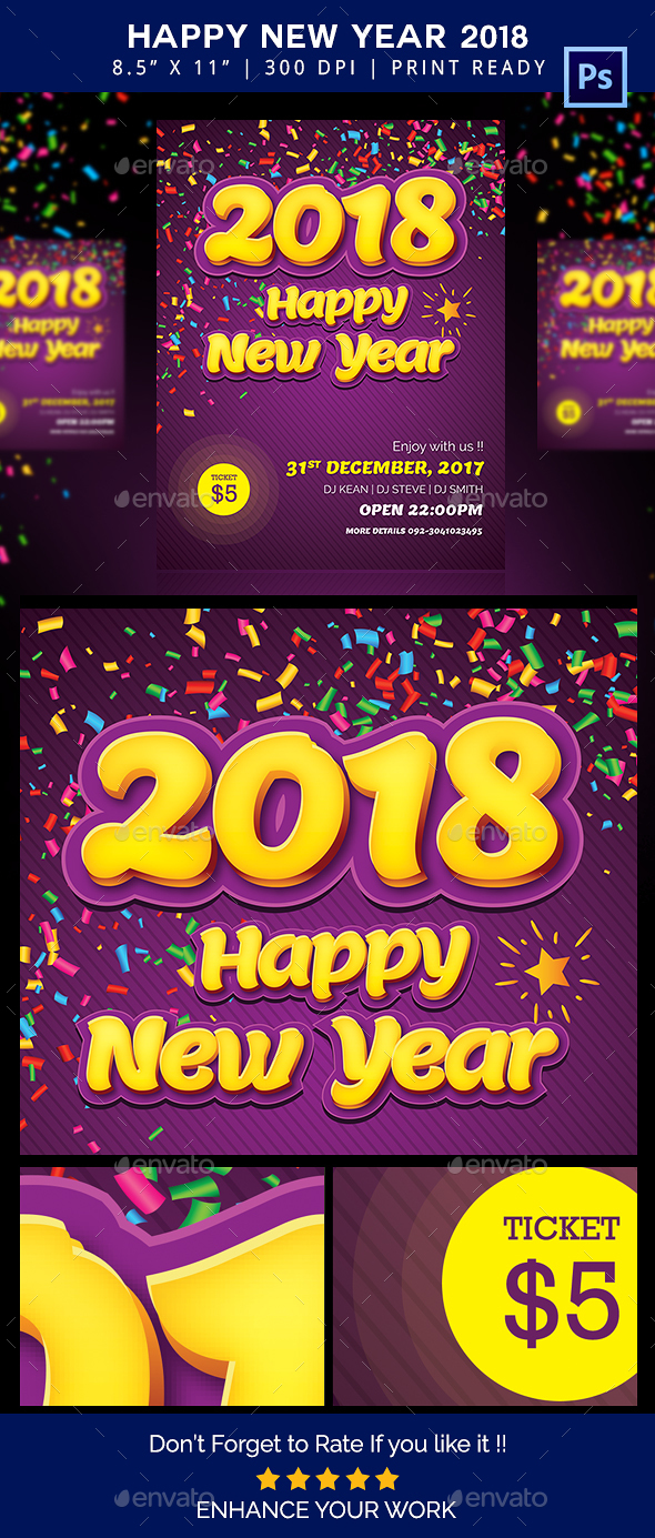 GraphicRiver Happy New Year Flyer 2018 20930328