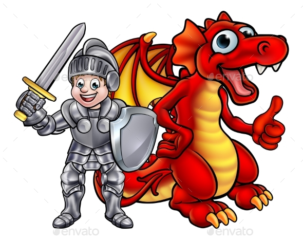 Cartoon Dragon and Knight - Miscellaneous Vectors
