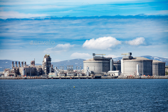 Hammerfest Island Muolkkut Northern Norway, gas processing plant - Stock Photo - Images