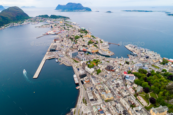 Aksla at the city of Alesund , Norway - Stock Photo - Images