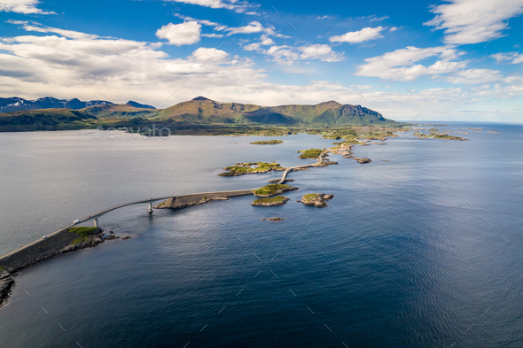 Atlantic Ocean Road aerial photography. - Stock Photo - Images