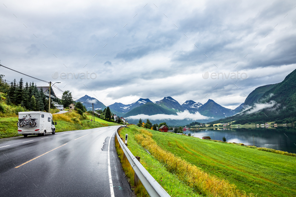 Caravan car travels on the highway. - Stock Photo - Images
